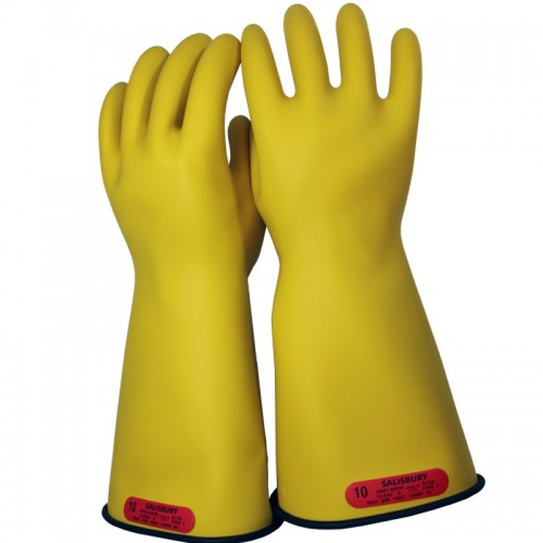 Voltage Rated Gloves : Salisbury e by black in yellow insulated electrical