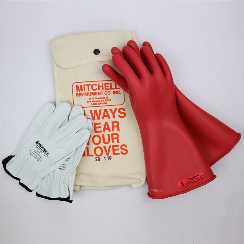 Class 0 Insulated Low Voltage Glove Kit - Red 14 inch 1000V Salisbury Gloves