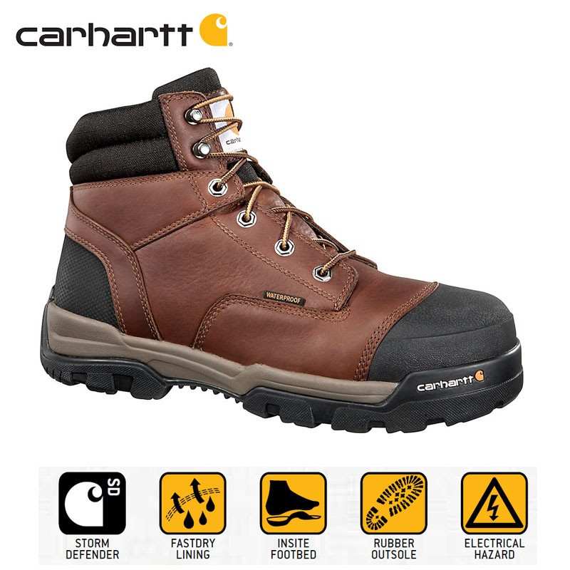 d01b38f9070 Carhartt CME6055 Men's Electrical Hazard Rated 6-Inch Brown Work ...