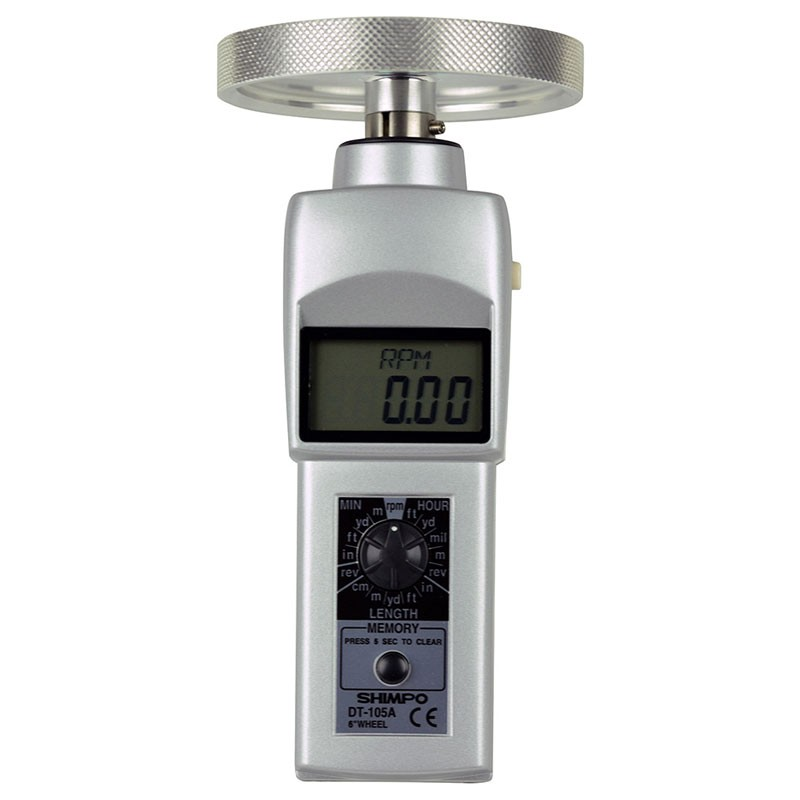 Shimpo DT-105A-12KMW Hand Held Contact Tachometer with 12 inch knurled aluminum wheel - LCD Display