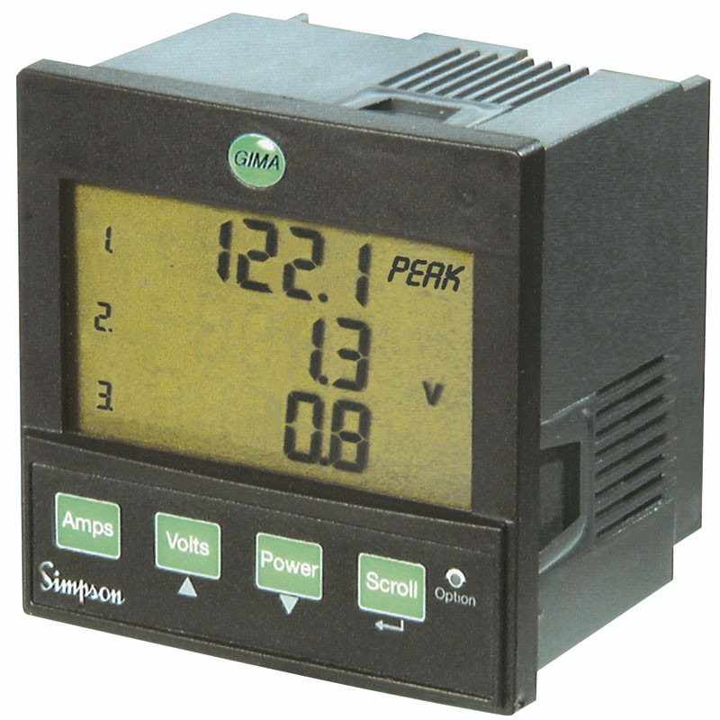 3 Phase Power Meter : Simpson gima three phase power digital panel meter