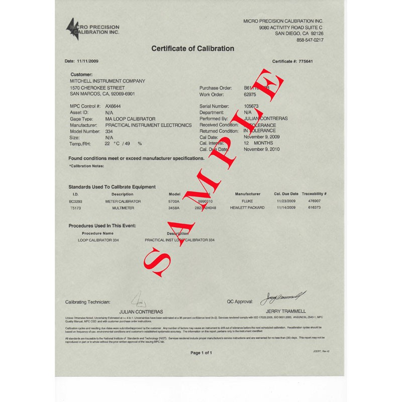Nist Traceable Calibration Certificate Mitchell Instrument Company
