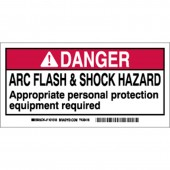 "Brady #101520 2"" x 4"" Arc Flash & Shock Labels (Danger) Qty 10"