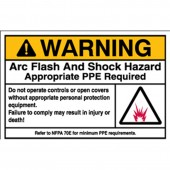 "Brady #101950 3.5"" x 5"" Arc Flash & Shock Labels (Warning, Pictogram) Qty 5"