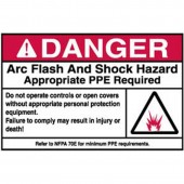 "Brady #102308 3.5"" x 5"" Arc Flash & Shock Labels (Danger, Pictogram) Qty 100"
