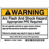 "Brady #102309 3.5"" x 5"" Arc Flash & Shock Labels (Warning, Text Only) Qty 100"