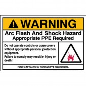 Brady Arc Flash Label: Polyester, Black/Orange on White, 3.5 in H x 5 in W Warning Arc Flash and Shock Labels