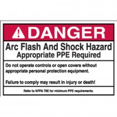 "Brady #102310 3.5"" x 5"" Arc Flash & Shock Labels (Danger, Text Only) Qty 100"