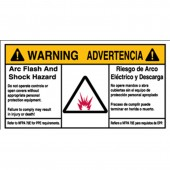 "Brady #102311 3.5"" x 6"" Bilingual Arc Flash & Shock Labels (Warning) Qty 100"