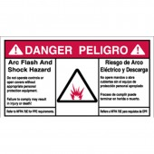 "Brady #101955 3.5"" x 6"" Bilingual Arc Flash & Shock Labels (Danger) Qty 5"