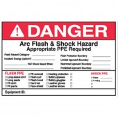 "5"" x 7"" Write-On Arc Flash Labels (Danger) Qty 5"