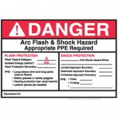 "5"" x 7"" Preprinted Arc Flash & Shock Labels, Hazard Category 0 (Danger) Qty 5"