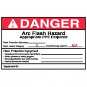 "4"" x 6"" Preprinted Arc Flash Labels, Hazard Category 0 (Danger) Qty 5"