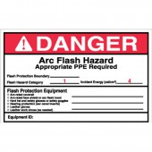 "4' x 6"" Preprinted Arc Flash Labels, Hazard Category 1 (Danger) Qty 5"