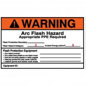 "4"" x 6"" Preprinted Arc Flash Labels, Hazard Category 2 (Warning) Qty 5"