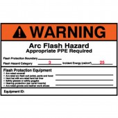 "4"" X 6"" Preprinted Arc Flash Labels, Hazard Category 3 (Warning) Qty 5"