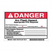 Brady 99489 Arc Flash Protection Danger Label 4 x 6 5 Pack