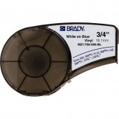 Brady M21-750-595-BL Indoor Outdoor Vinyl Labels White on Blue 0.75 in x 21 ft