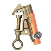 "Salisbury 4200 - .83"" Bronze Smooth Jaw ""C"" Clamp w/ Curved Lower Jaw - ""V"" Thread. Eye Bolt w/ Strain Relief Sleeve"