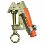 "Salisbury 4260 - .83"" Bronze Smooth Upper Jaw / Curved Serrated Lower Jaw ""C"" Clamp. ""V"" Thread, Eye Bolt w/ Strain Relief Sleeve"