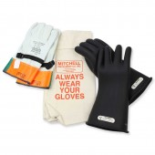 Class 1 Insulated High Voltage Lineman Glove Kit - 14 inch 7,500V Gloves - 7.5kV