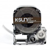 K-Sun LabelShop White on Brown 1""