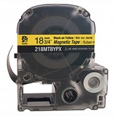 Epson Labelworks PX 218MTBYPX-4.9 18mm 3/4 in Black Ink/Yellow Magnet Tape 4.92 ft.