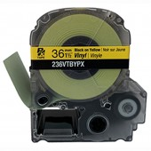 Epson Labelworks PX 236VTBYPX 36mm 1 1/2 in. Black Ink/Yellow Vinyl Tape 22.9 ft.
