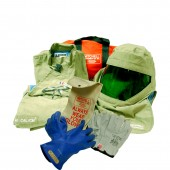 40 Cal/cm2 Premium Light Weight Arc Flash Suit With Class 00 gloves (khaki green color)