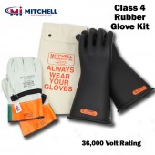 Class 4 Insulated High Voltage Glove Kit - 16 inch 36,000V Gloves (36kV)