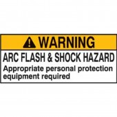 "Brady #101519 2"" x 4"" Arc Flash & Shock Labels (Warning) Qty 10"
