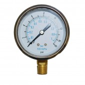"Tel-Tru Model 33 Stainless Steel 2.5"" analog pressure gauge 0-15psi / 0-1 bar"