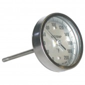 Reotemp AA Back Connect Industrial Bimetal Dial Thermometer 3 Inch Dial with reset