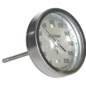 Reotemp CC Back Connect Industrial Bimetal Dial Thermometer 4 Inch Dial with reset
