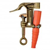 "Salisbury 4279 - 1.25"" Bronze Serrated w/ Flat Lower Jaw ""C"" Clamp - ACME Thread. Eye Bolt w/ Strain Relief Sleeve"