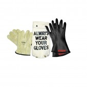 Salisbury GK011B/10 Lineman Glove Kit - Class 0 (1000V Rated)  11 Inch Black Size 10 Glove