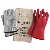 Salisbury GK011R/10H Lineman Glove Kit - Class 0 (1000V Rated)  11 Inch Red Size 10 1/2 Glove