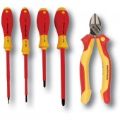 Wiha 32983 - Insulated Tool Set - 5 Piece Industrial Cutters & Drivers Kit